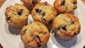 Amandelmuffins met blauwe bessen